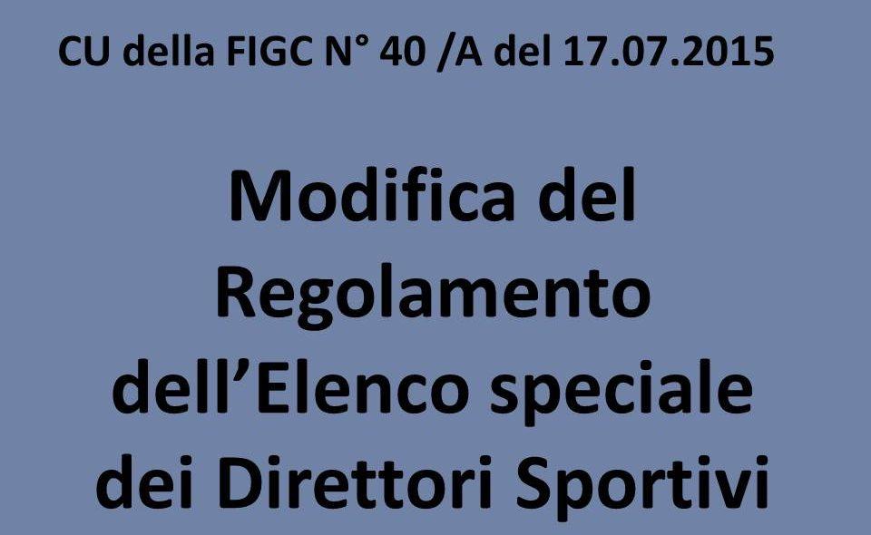 Modifica Del Regolamento Dell'Elenco Speciale Dei Direttori Sportivi